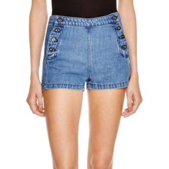 Free People Pants - Free People Blue Lumineer Denim Sailor Shorts 32
